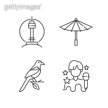 Korean traditions linear icons set