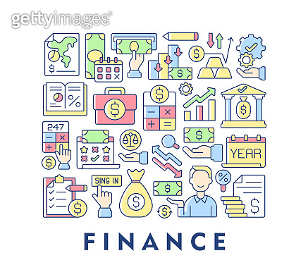 Finance abstract color concept layout with headline
