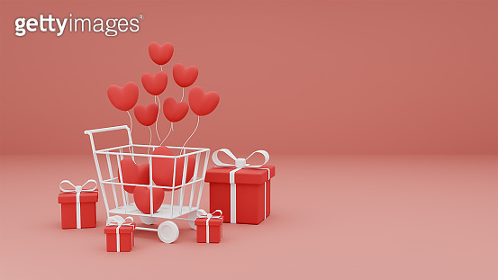 Happy Valentine's Day of heart and gift box in shopping cart