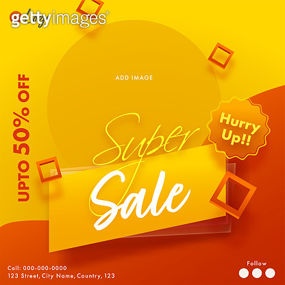 UP TO 50% Off For Super Sale Poster Design In Red And Orange Color.