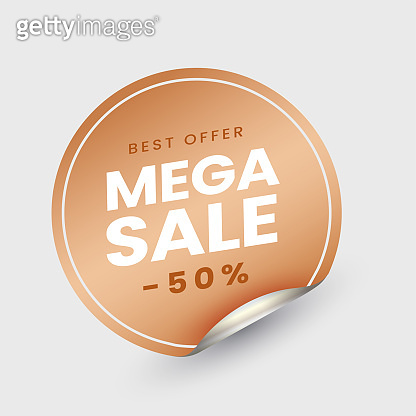 Mega Sale Label Or Sticky With 50% Discount Offer On White Background.