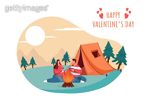 Camping View Background With Young Couple Enjoying Drinks In Front Of Bonfire For Happy Valentine's Day Celebration Concept.