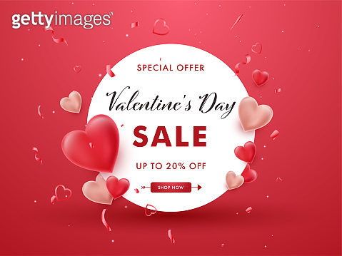 Valentine's Day Sale Poster Design With 20% Discount Offer, Confetti And Glossy Hearts On Red Background.