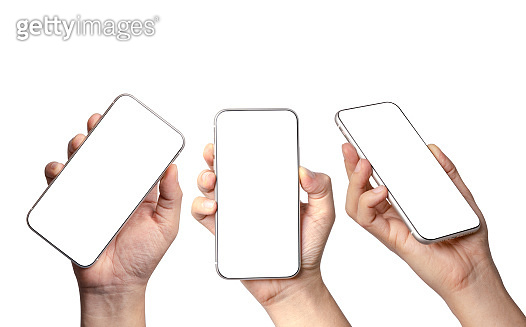 Isolated of various angels views of Hand holding smartphone with blank screen frame on white background for mockup template. Mobile phone device concept.