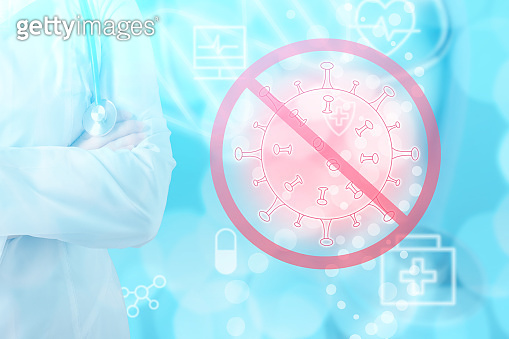 covid bacterium icon,coronavirus protection, medical virus vaccine concept, doctor with stethoscope