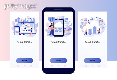 Cloud storage. Cloud computing services. Data processing. Tiny people place data, music, photo, video in big cloud server. Screen template for mobile smart phone. Modern flat cartoon style. Vector