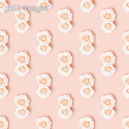 Seamless pattern for March 8 with two white flower roses as number eight. Floral decor with pastel pink colored.