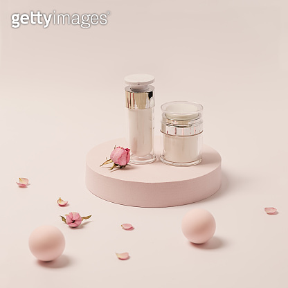 Rose-scented beauty Cream in jar and rose flowers on round podium. Cosmetic product, pink pastel colored
