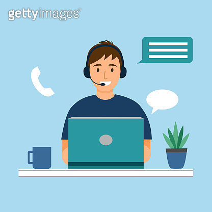 Customer service, call center, customer support concept vector illustration. Man staff working with laptop computer. Gamer or freelancer.