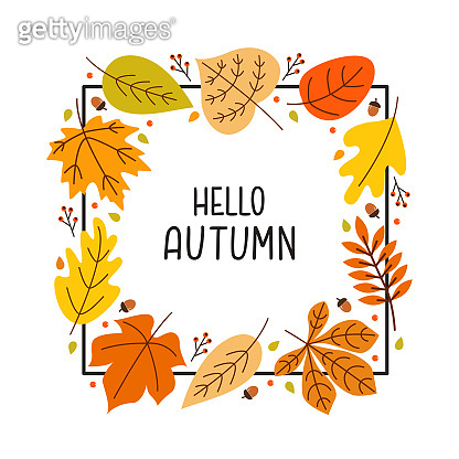 Autumn square frame with seasonal leaves and acorns on a white background