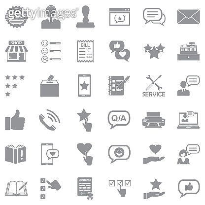 Complaint Icons. Gray Flat Design. Vector Illustration.