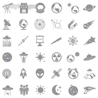 Astronomy Icons. Gray Flat Design. Vector Illustration.