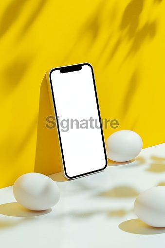 Eggs and phone mockup, template on yellow and white background