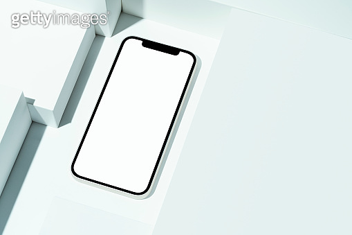 Blank white screen smart phone mockup, template