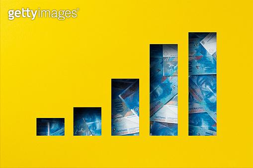 Swiss franc heap under paper cutout bar graph icon
