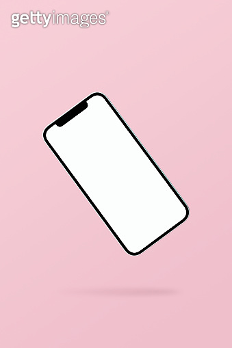 Blank screen smart phone mockup, template floating on pink background