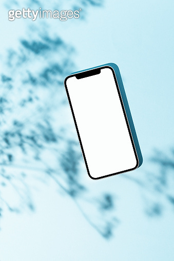 Blank screen smart phone mockup, template on blue background