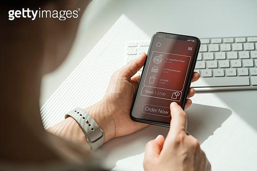 Online food order app on smart phone screen