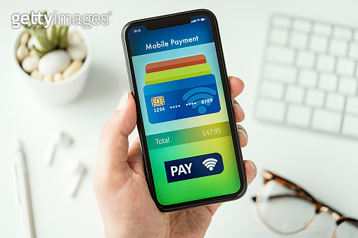Mobile payment app on smart phone screen