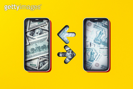 Mobile money tansfer, exchange, American dollar and South Russian rubles