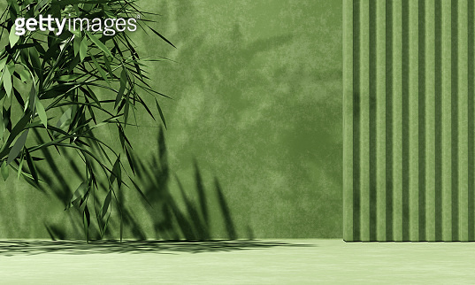 Minimal abstract background with 3D concrete podium display with green leaves