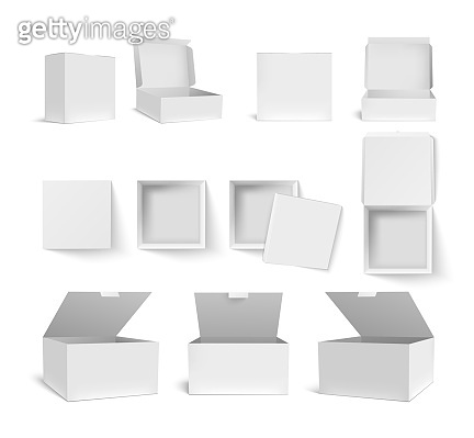 Box packaging. Blank white and black product package in various size 3d templates. Paper packs for cosmetic, medicines and food isolated vector template