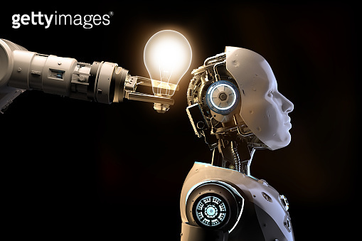 artificial intelligence robot or cyborg with shiny light bulb