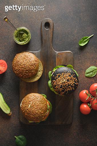 Vegan Black Burger of vegetables, carrot meatball.