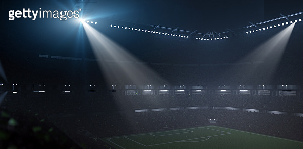 Stadium at foggy night