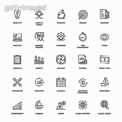 Outline Icon Set of Start Up Business