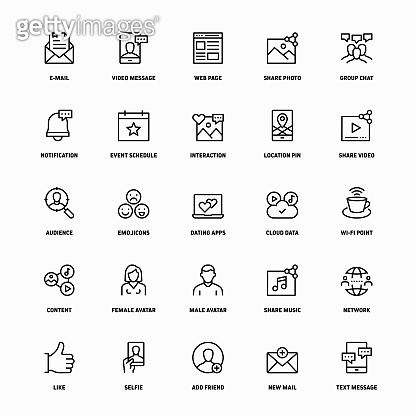 Outline Icon Set of Social Media
