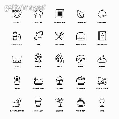Outline Icon Set of Restaurant