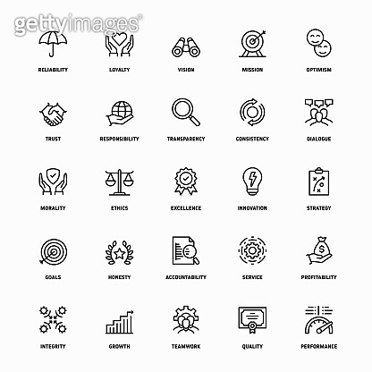 Outline Icon Set of Core Values