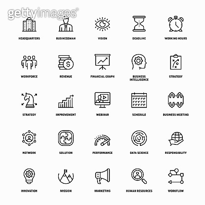 Outline Icon Set of Corporate Business
