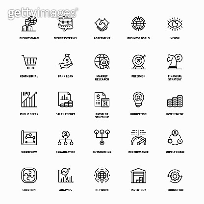 Outline Icon Set of Business Management