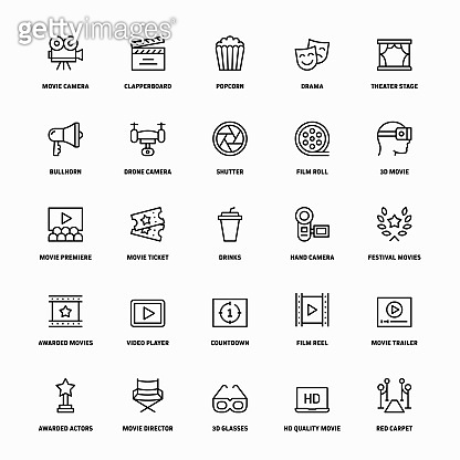 Outline Icon Set of Movie And Video