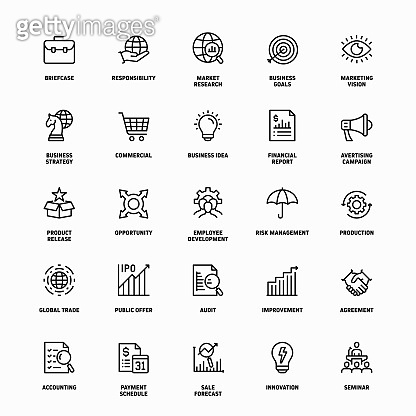 Outline Icon Set of Business