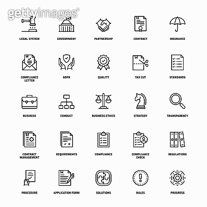 Outline Icon Set of Regulations