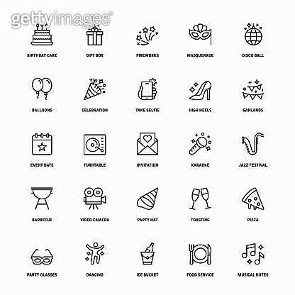 Outline Icon Set of Party And Celebration