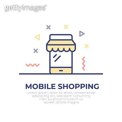 Mobile Shopping Outline Icon Design
