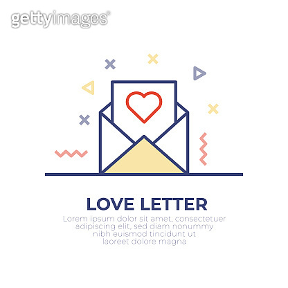 Love Letter Outline Icon Design