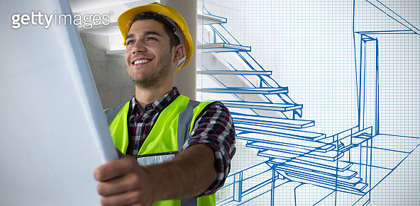 Composite image of construction worker looking at plans