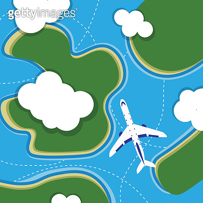 Illustration of airplane flying over clouds and green islands on sea