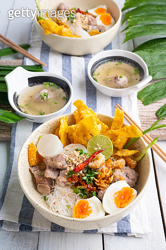 Thai tom yom rice noodle with soup