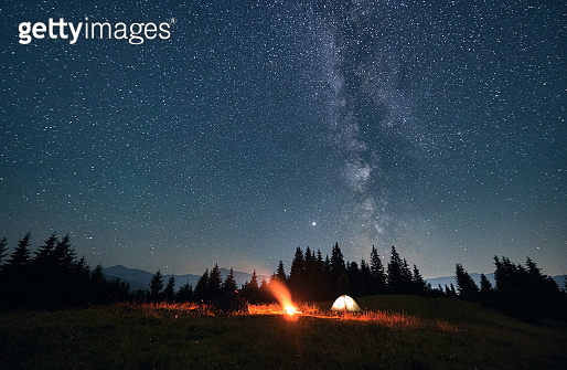 Night sky full of stars, Milky way in the mountains in summer