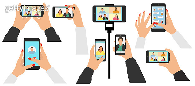 Human hand holds mobile phone, telephone on tripod, set. Screen of smartphone. Video call and online chat. Virtual communication via the Internet. Beautiful male and female hands. Vector illustration