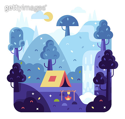 Flat design nature landscape cartoon illustration with trees, hills and clouds. Background for summer camp, nature tourism, camping or hiking design concept