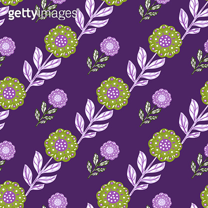 Floral decorative seamless pattern with doodle green folk flowers ornament. Purple bright background.