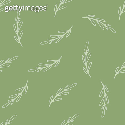 Seamless foliage doodle pattern with random light outline branches elements. Green olive background.
