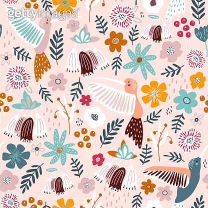Seamless pattern with cute colibri birds and flowers . Creative blooming texture. Great for fabric, textile Vector Illustration